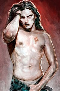 A bare-chested vampire man with a crcifix burn pushing back his long black hair