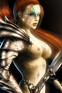 A red-haired woman stands naked, her sword at the ready.