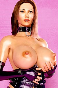 A dignified woman with long dark hair wearing a leather corset and gloves cups one of her massive pale breasts in her hand.