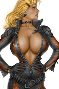 A blond woman with large breasts peaking out of an unzipped flight suit proudly stands.