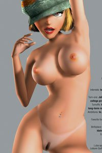Luba Licious from Leisure Suit Larry Magna Cum Laude prances around in the nude for Playboy.