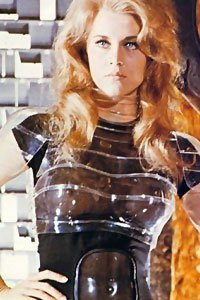 Jane Fonda as Barbarella wearing a translucent uniform.