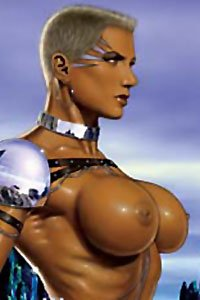 A muscular armored woman with large, angry breasts.