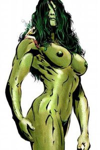 The muscular, dark green She-Hulk stands proudly naked.