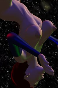 An upside-down side view of a nude woman with large breasts floating in space.