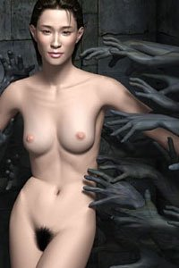 Dark gray hands grasp at beautiful woman's slender naked body.
