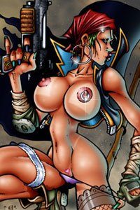 A powerful pirate woman with a large pistol and larger exposed breasts stands defiantly.