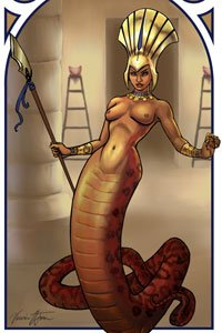An bare-breasted snake-woman wearing an elaborate headdress and wielding a large spear.