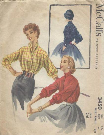 patron mc call's de chemisier années 1950