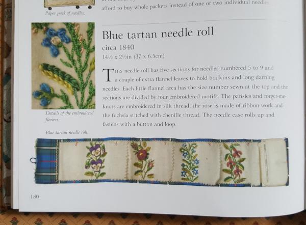 Blue tartan needle roll circa 1840