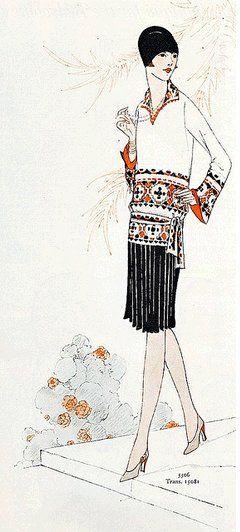 illustration de mode 1927 ensemble tunique et jupe plissée