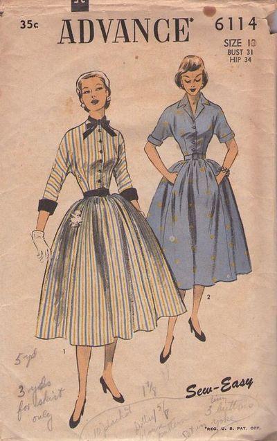 patron de couture robe années 1950