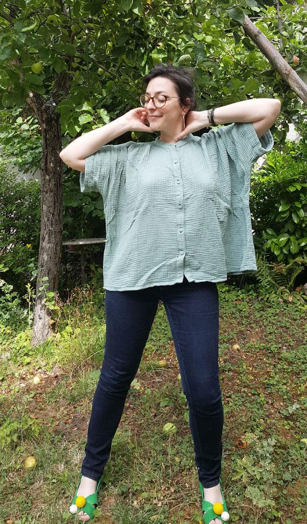 chemise Petula double gaze verte