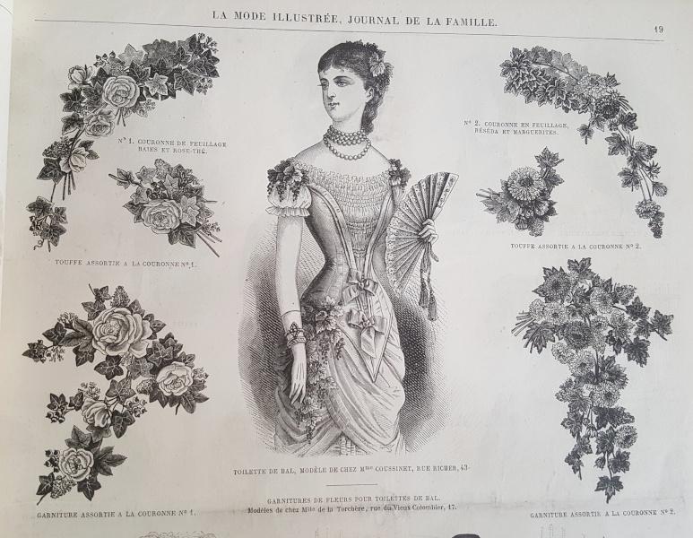 Toilette de bal et ornements floraux La Mode Illustrée, 18 janvier 1880