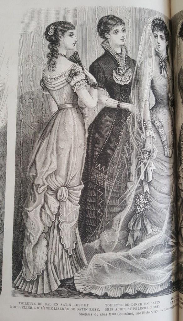 toilette de bal en satin rose et mousseline, La Mode Illustrée, 19 décembre 1880