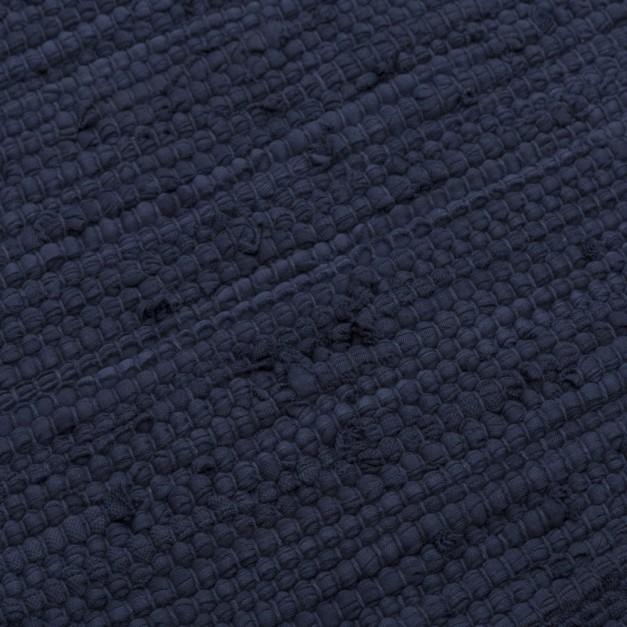 tapis coton recycle bleu fonce
