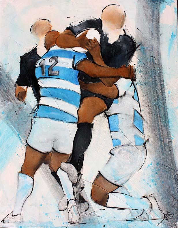 Art tableau sport collectif rugby : peinture sur toile de joueurs de rugby entre les all blacks de Nouvelle Zélande et les pumas d'argentine lors d'un match des four nations