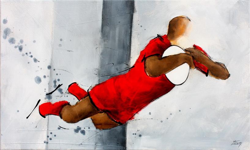 Art Sport Rugby : Peinture sur toile d'essai spectaculaire du RCT (Rugby Club Toulonais) lors d'un match au Stade Mayol