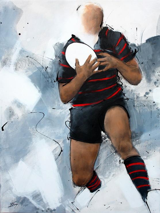 Tableau art sport rugby : Peinture sur toile d'un joueur de rugby du Stade Toulousain lors d'un match à Ernest Wallon