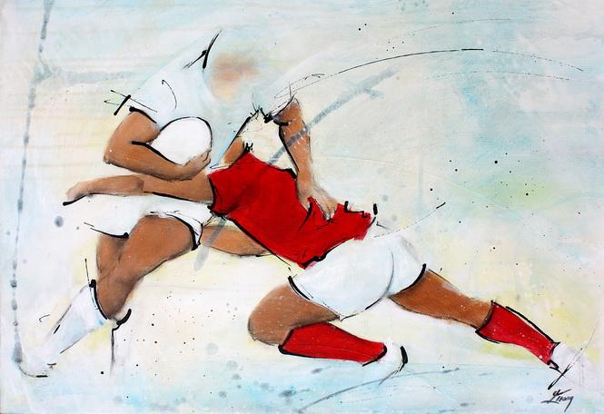 Art sport rugby : Peinture sur toile de la défense du Pays de Galles face aux anglais du XV de la rose