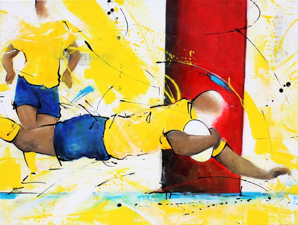 Tableau art Sport Rugby : Peinture sur toile d'un joueur de l'ASM marquant un essai au pied des poteaux au Stade Michelin de Clermont Ferrand