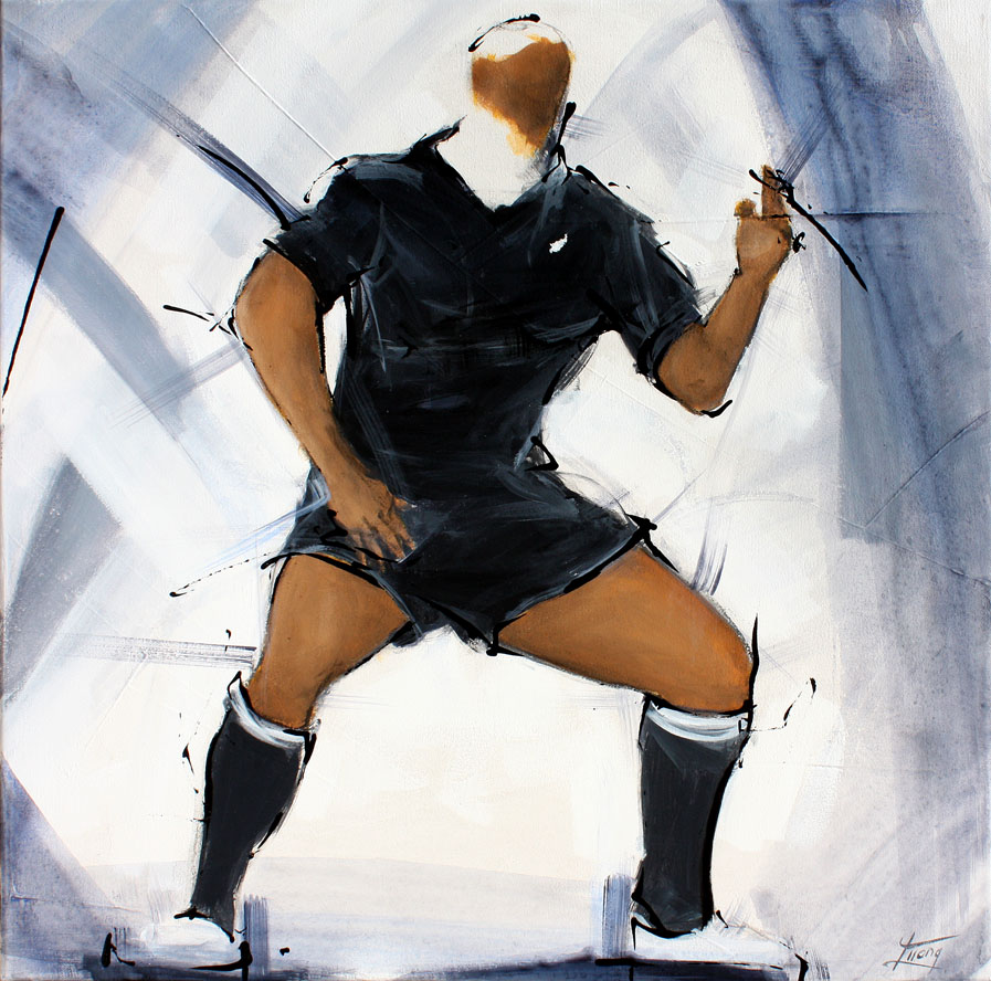 Painting art sport rugby : Painting of the legend all blacks jonah lomu performing Haka by Lucie LLONG, artist of movement