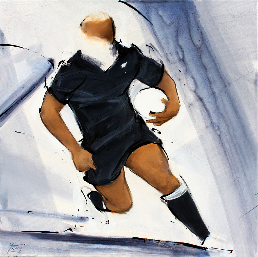 Painting art sport rugby: legend all blacks jonah lomu painting during a match by Lucie LLONG