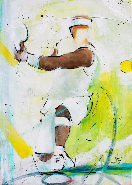 Tableau art sport tennis : Peinture sur toile d'un joueur de tennis faisant un revers à Wimbledon