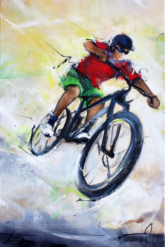 Art sports painting - Cycling a mountain bike cycling cycle - Painting on canvas by Lucie LLONG, artist of movement and sports
