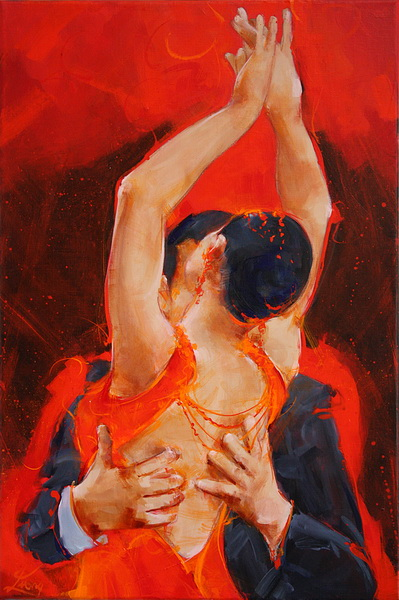 Tableau Art Danse : Peinture sur toile d'un couple de danseurs de tango argentin sur scène