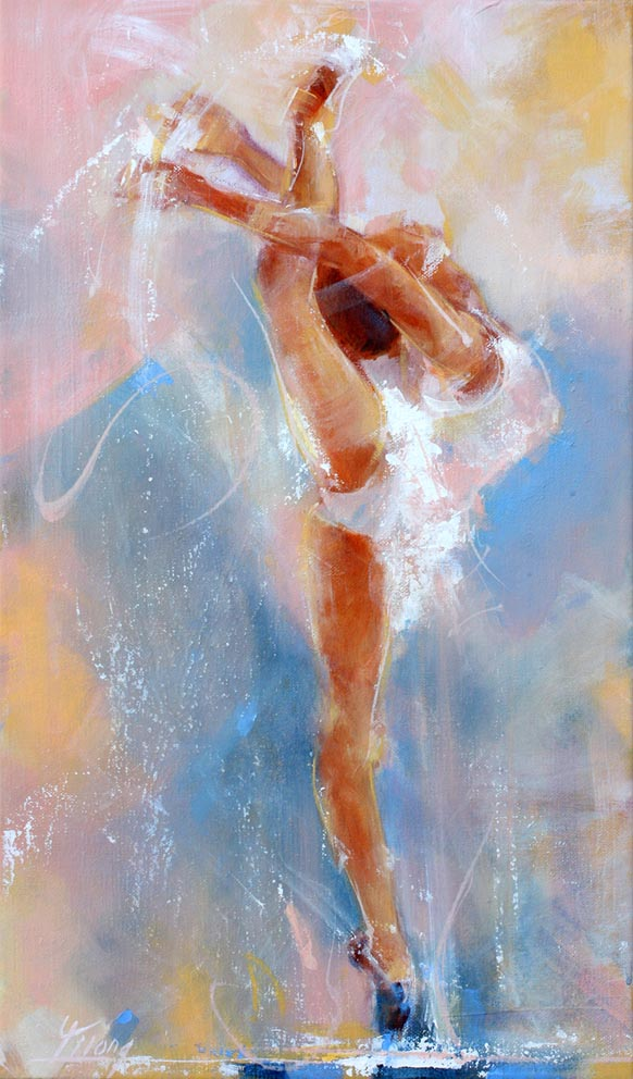 Art tableau sport danse classique ballet : Peinture sur toile d'une danseuse étoile de ballet