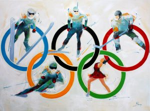Art tableau sport JO : Peinture sur toile de 5 sports des jeux olympiques d'hiver comme le saut à ski, le biathlon, le hockey sur galce, le patinage artistique et ski alpin, un hommage coloré au baron Pierre de Coubertin