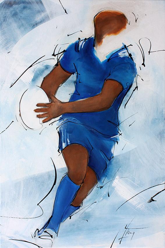 Art tableau sport collectif rugby : peinture sur toile d'un joueur de rugby entre le XV de France lors du tournoi des 6 nations