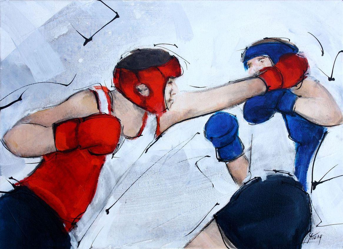 Art tableau sport de combat boxe : peinture sur toile d'un boxeur frappant son adversaire au visage