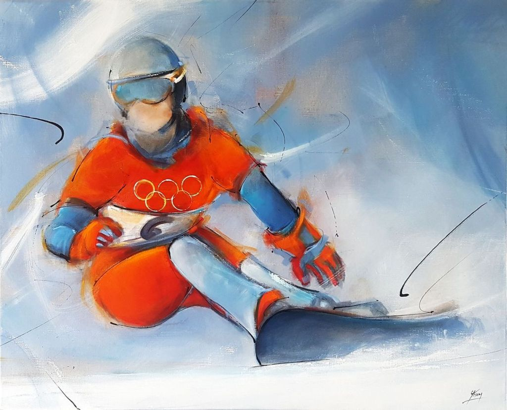 Canvas painting : Isabelle Blanc, french olympics champion on her snowboard at Salt Lake City - USA - 2002 Olympic Games