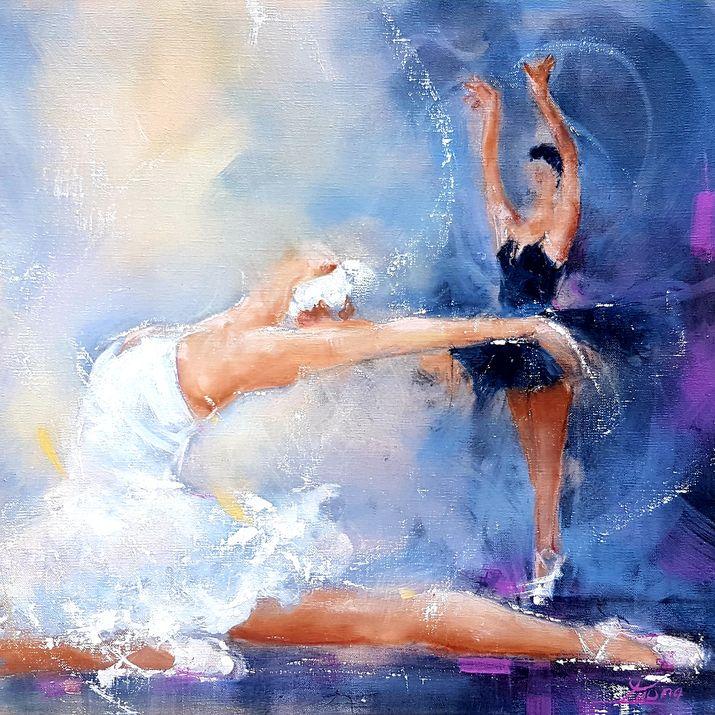 art peinture tableau danse classique ballet : Odile et Odette s'opposent pour l'amour de siegfried dans le lac des cygnes de Tchaïkovski