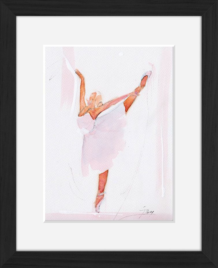 Framed ballet watercolor painting by Lucie LLONG, sport and dance painter