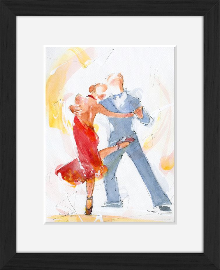 Framed tango watercolor painting by Lucie LLONG, sport and dance painter
