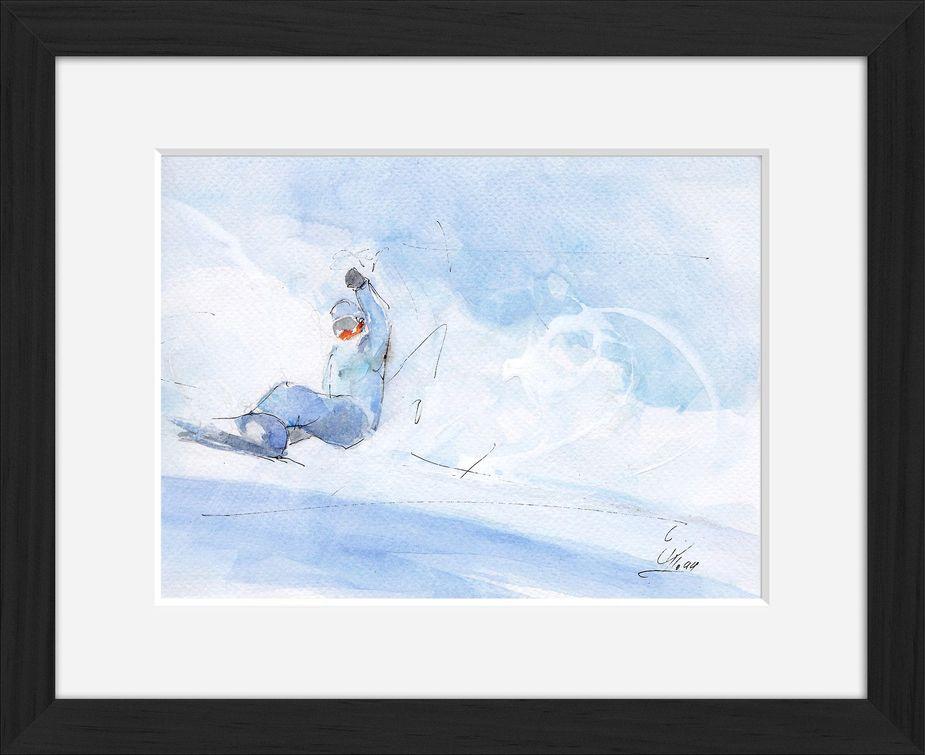 Peinture art et sport à l'aquarelle snowboard : tableau avec cadre d'un snowboarder sur sa planche