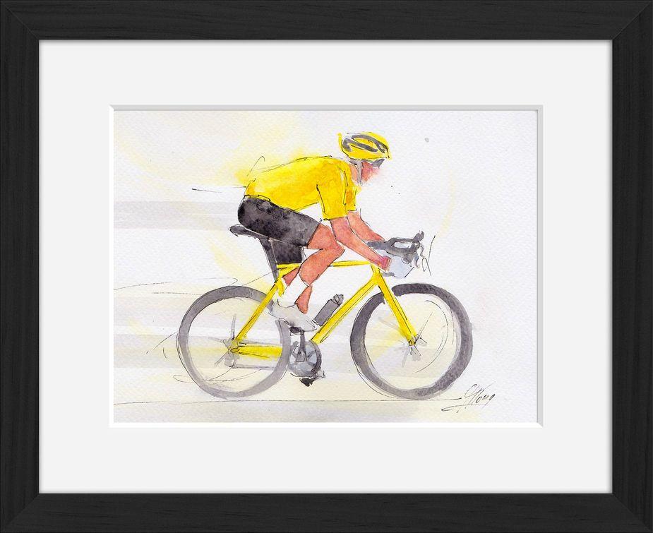 Peinture art et sport à l'aquarelle : tableau avec cadre d'un cyclisme portant le maillot jaune