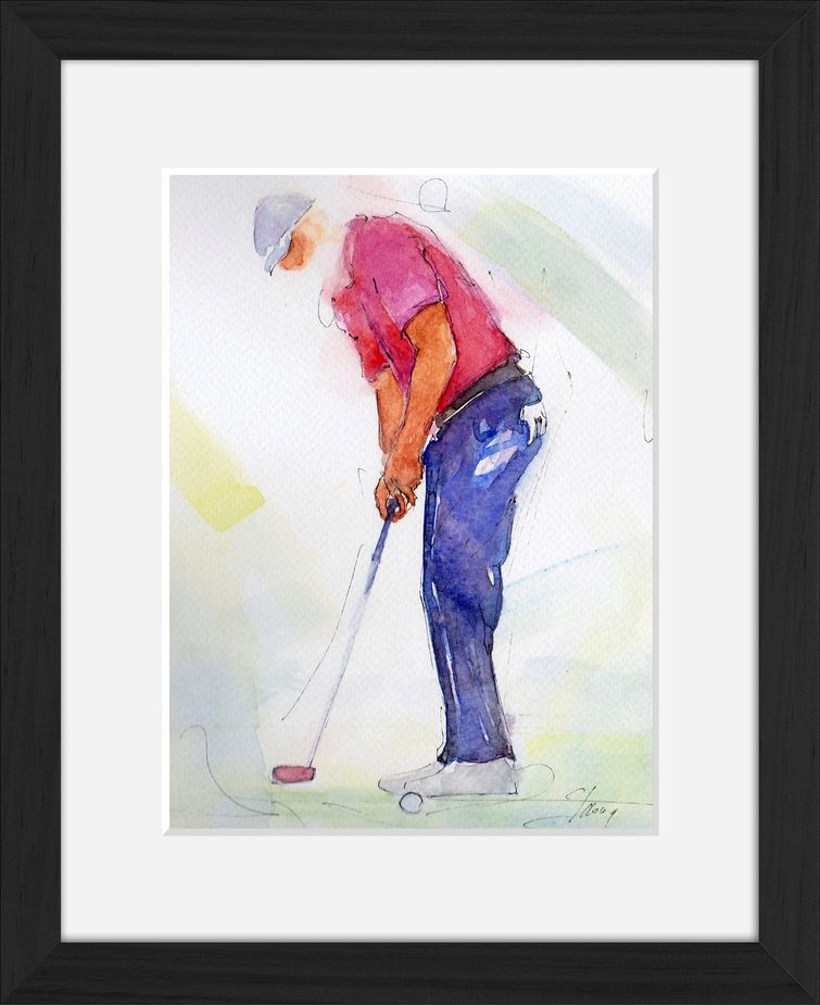 Framed golf watercolor painting by Lucie LLONG, sport painter : the putt