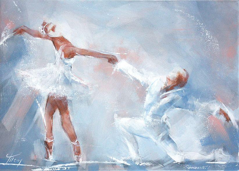 art peinture tableau danse ballet couple lac des cygnes