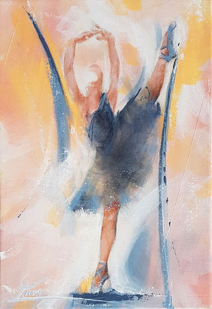 Dance and ballet art painting on canvas : The black swan on stage - the swan lake