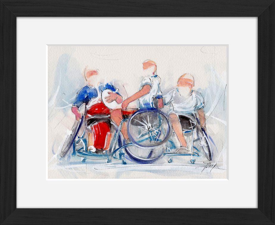 art peinture aquarelle rugby fauteuil : le crunch France Angleterre de rugby à 7 en fauteuil