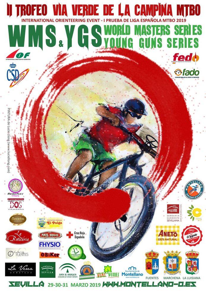 art sport mtbo vtt orientation : affiche réalisée à partir de la peinture vtt par Lucie LLONG artiste peintre du mouvement