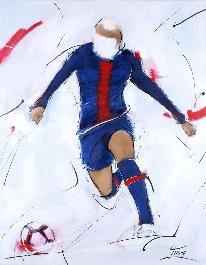 Peinture football : tableau de Killan Mbappé lors du match du PSG au Parc des Princes de Paris