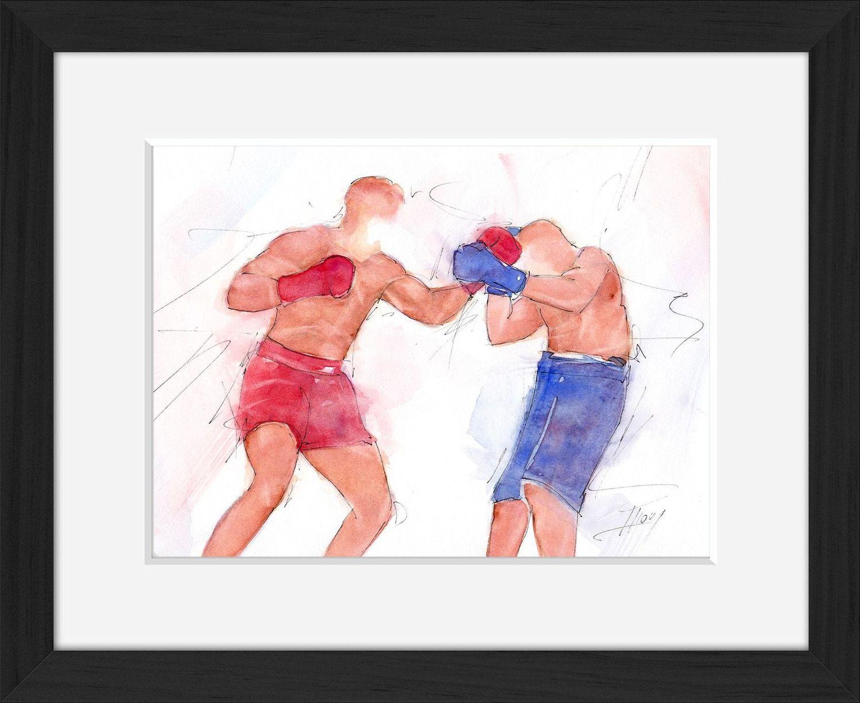 Tableau aquarelle de sport de combat : boxe anglaise en peinture par Lucie LLONG, artiste du mouvement