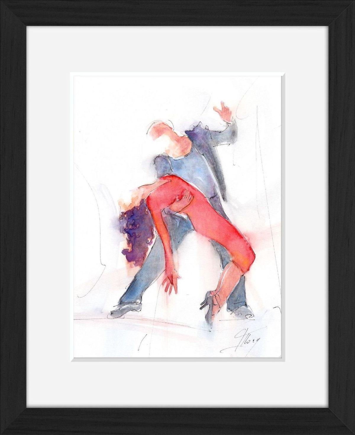 Peinture aquarelle danse tango : l'art en mouvement de Lucie LLONG