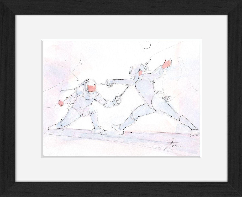Tableau aquarelle de sport : escrime en peinture par Lucie LLONG, artiste du mouvement