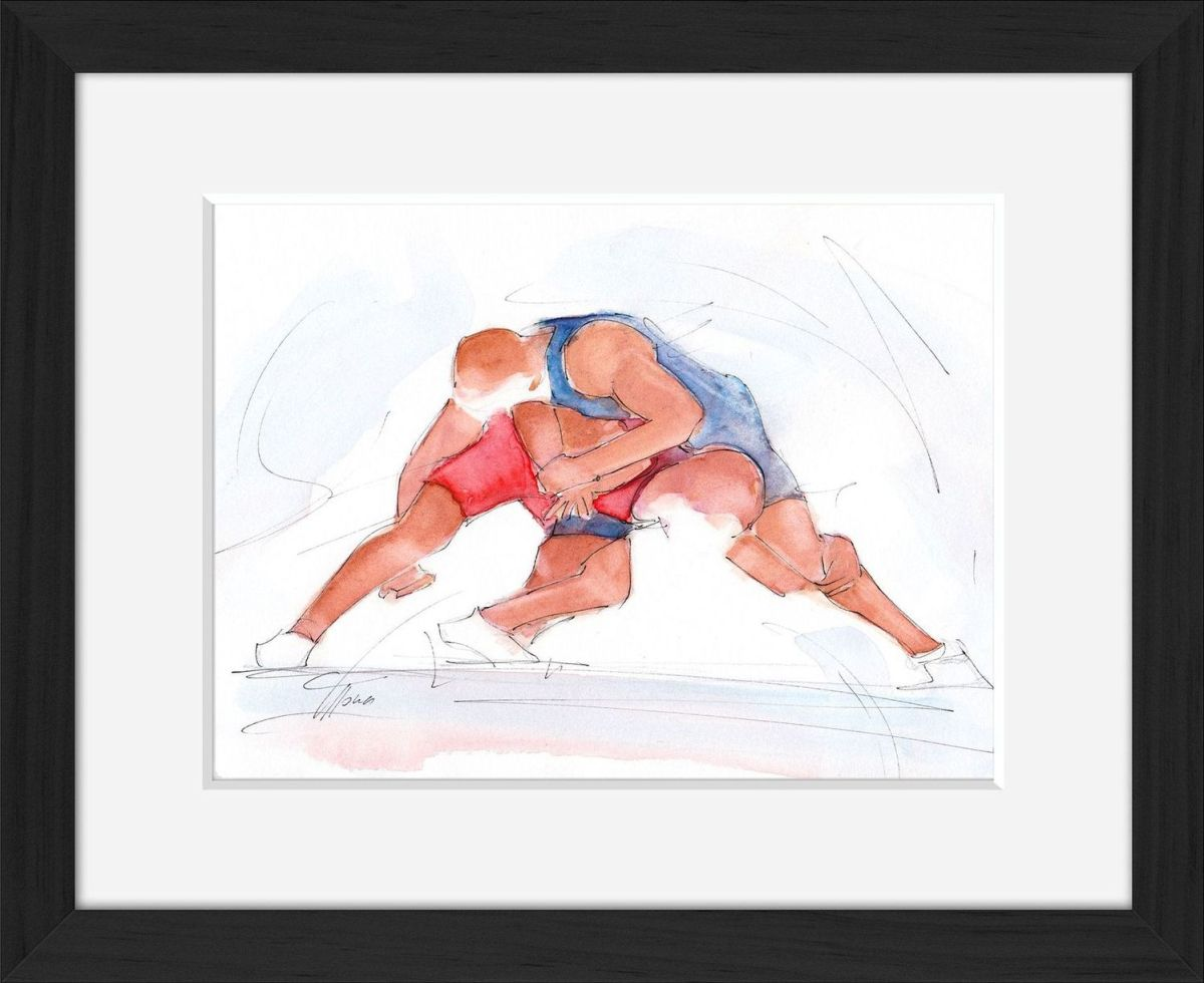 wrestling watercolor painting by Lucie LLONG artist of movement
